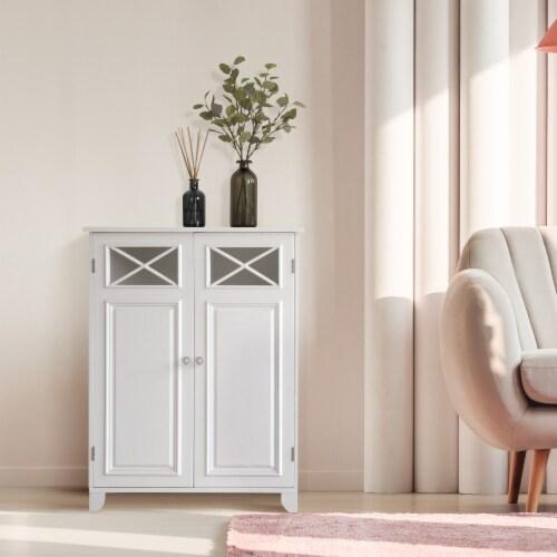 Elegant Home Fashions Wooden Bathroom Floor Cabinet 2 Doors White Dawson 6841 Perspective: back
