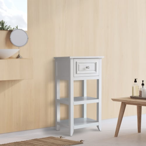 Elegant Home Fashions Wooden Bathroom Floor Cabinet With 1 Drawer White 6858 Perspective: back