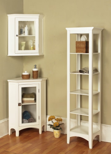 Elegant Home Fashions Wooden Bathroom Cabinet Linen Storage Standing White 7091 Perspective: back
