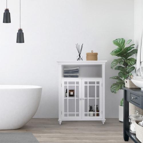 Elegant Home Fashions Wooden Bathroom Floor Cabinet 2 Doors Neal White 7466 Perspective: back