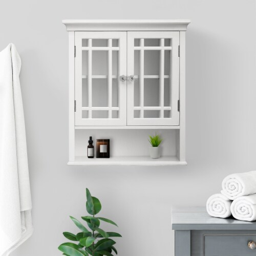Elegant Home Fashions Wooden Bathroom Wall Cabinet 2 Doors Neal White 7473 Perspective: back