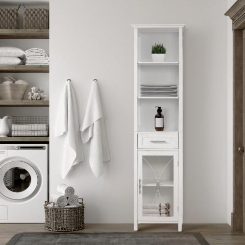 Elegant Home Fashions Delaney 65  1-Door Linen Cabinet in White Perspective: back