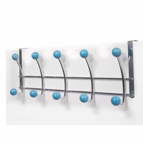 Elegant Home Fashions Over the Door 10 Hooks Hangers Chrome Blue OTD-3815 Perspective: back