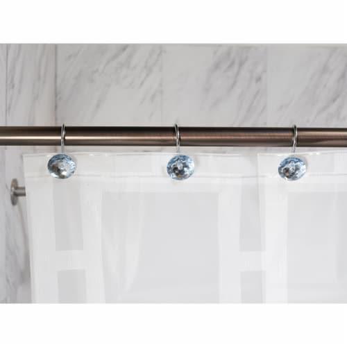 Elegant Home Fashions Bathroom Shower Curtain Hooks Set 12 Diamond Blue HK40102 Perspective: back