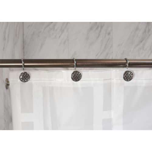 Elegant Home Fashions Bathroom Shower Curtain Hooks Set 12 Woven Silver HK40112 Perspective: back