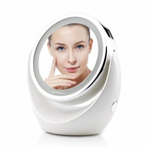 Elegant Home Fashions Bathroom LED Magnifying Mirror Swivel Makeup White TB-0678 Perspective: back