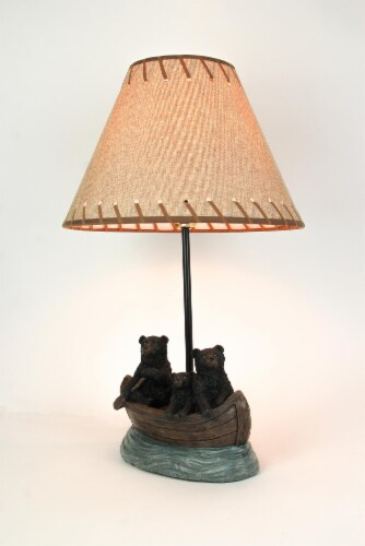 Set of 2 Black Bear Family Canoe Trip Table Lamps With Burlap Shades Lodge Decor Perspective: back