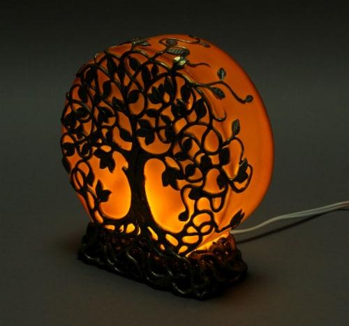 Orange Druid Tree of Life Plug-In Night Light Statue Perspective: back
