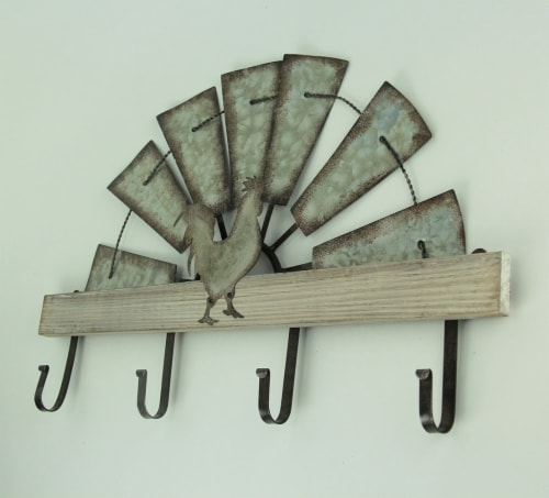 Half Metal Windmill Farmhouse Rooster Decorative Wood Wall Hook Rack Perspective: back