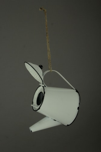 White Enamel Metal Rustic Tea Kettle Decorative Outdoor Hanging Birdhouse Small Perspective: back