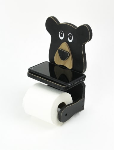 Whimsical Hand Painted Black Bear Wooden Toilet Paper Roll Holder With Phone Shelf Perspective: back