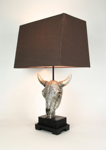 Ornately Carved Cow Skull Table Lamp with Brown Fabric Shade Perspective: back