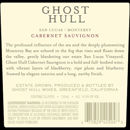 Ghost Hull Cabernet Sauvignon Perspective: back