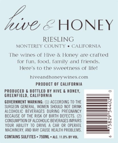 Hive & Honey Riesling Perspective: back