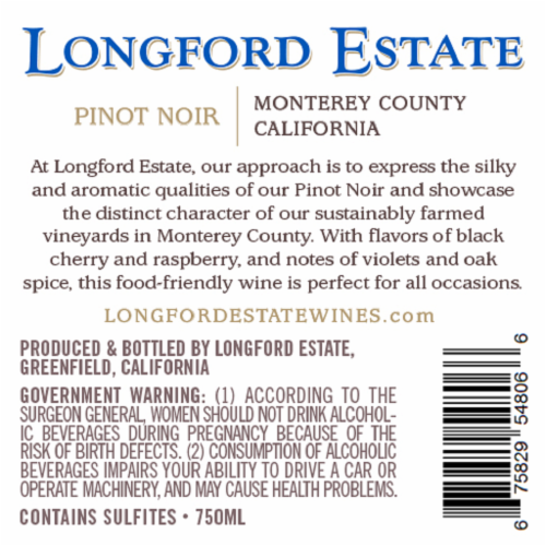 Longford Estate Pinot Noir Perspective: back