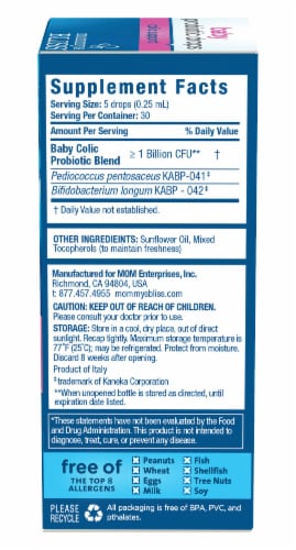 Mommy's Bliss® Baby Probiotic Drops + Colic Support Liquid Probiotic Supplement Perspective: back
