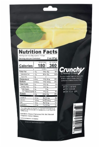 Cheddar Crunchy Cheese Crisps, Made with 100% All Natural Cheese, Keto Friendly, Gluten Free Perspective: back