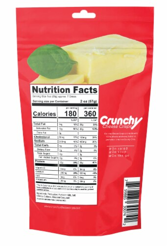 Swiss Crunchy Cheese Crisps, Made with 100% All Natural Cheese, Keto Friendly, Gluten Free. Perspective: back