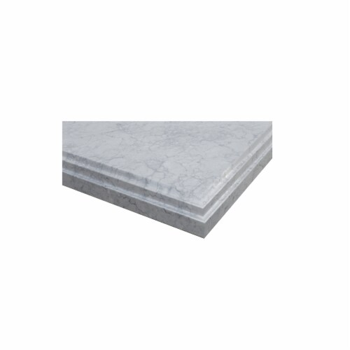 """White Carrara Marble Countertop - 42"""" - Single Hole with Rectangular Sink Perspective: back"""