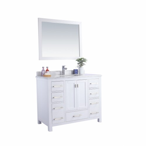 Wilson 42 - White Cabinet + White Carrara Marble Countertop Perspective: back