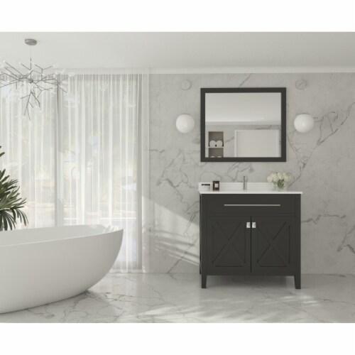 Wimbledon - 36 - Espresso Cabinet + White Quartz Countertop Perspective: back