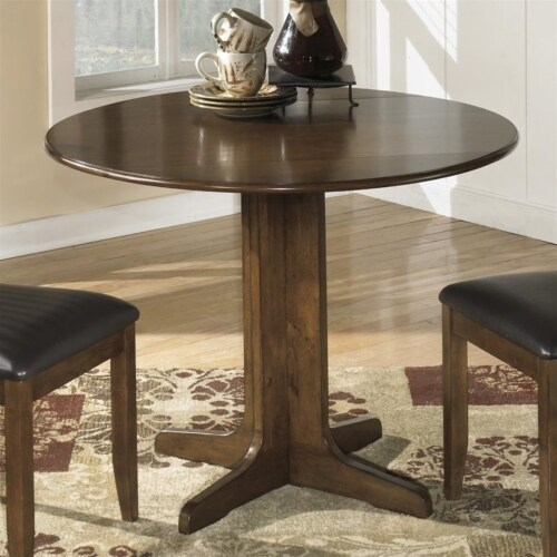 Bowery Hill Round Wood Dining Table in Brown Perspective: back