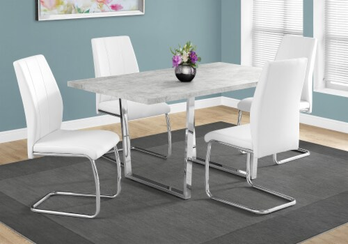Dining Table - 36 X 60  / Grey Cement / Chrome Metal Perspective: back