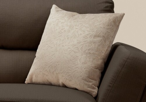 Pillow - 18 X 18  / Taupe Floral Velvet / 1Pc Perspective: back
