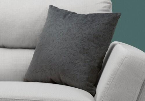 Pillow - 18 X 18  / Dark Grey Floral Velvet / 1Pc Perspective: back