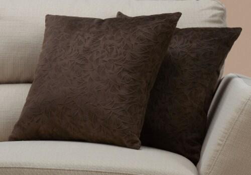 Pillow - 18 X 18  / Dark Brown Floral Velvet / 2Pcs Perspective: back