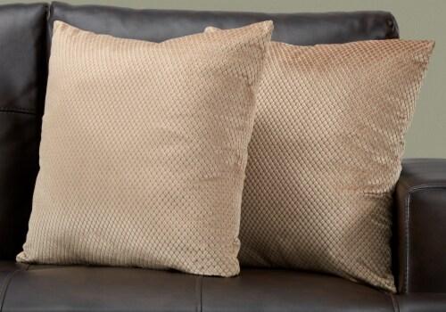 Pillow - 18 X 18  / Beige Diamond Velvet / 2Pcs Perspective: back