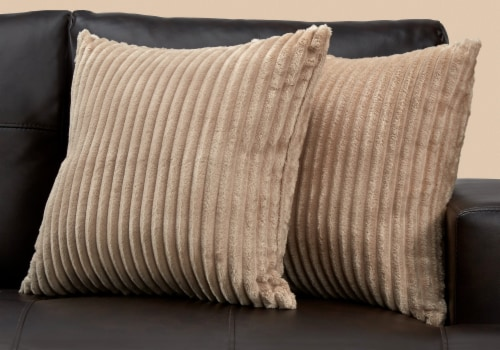 Pillow - 18 X 18  / Beige Ultra Soft Ribbed Style / 2Pcs Perspective: back