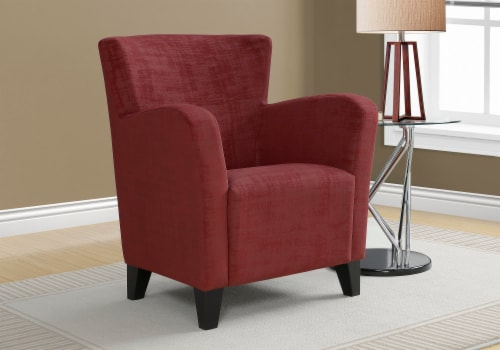 Accent Chair - Red Brushed Velvet Fabric Perspective: back