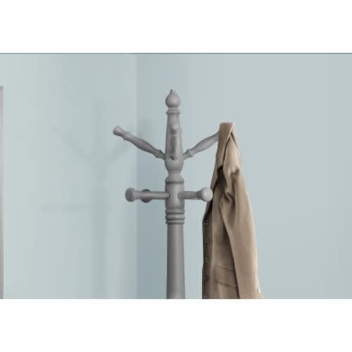 Coat Rack - 73 H / Grey Wood Traditional Style Perspective: back