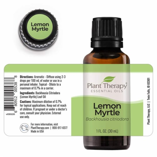 Plant Therapy Aromatherapy Diffusible 30mL Essential Oil, 1 Ounce, Lemon Myrtle Perspective: back
