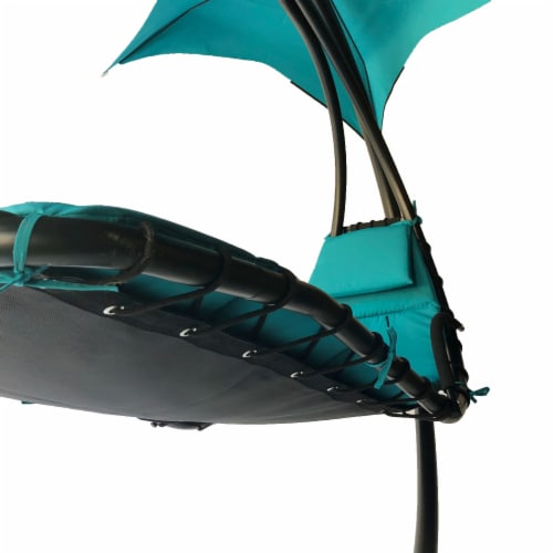 Backyard Expressions Steel Hanging Lounger Chair - Blue Perspective: back