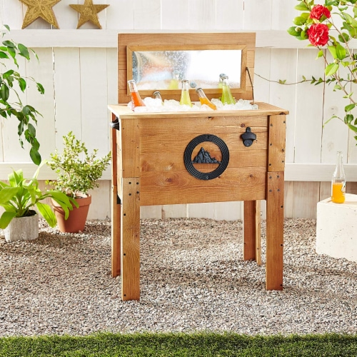 Backyard Expressions 45 Qt. Decorative Outdoor Rustic Mountain Cooler Perspective: back