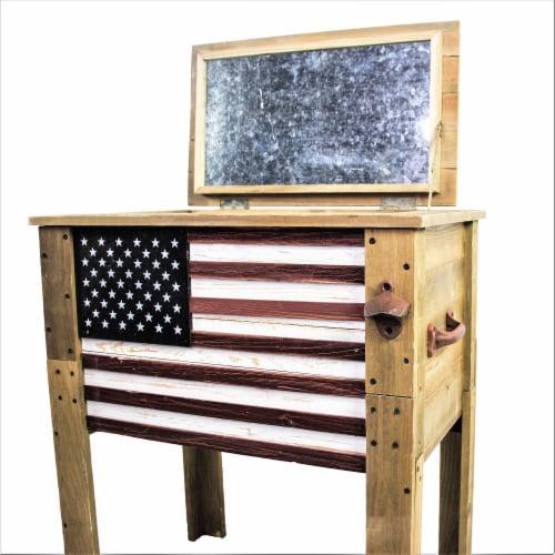 Backyard Expressions 57 Qt. Decorative Outdoor American Flag Cooler Perspective: back
