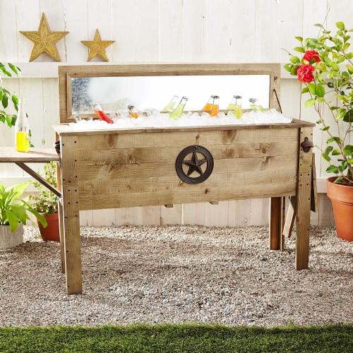 Backyard Expressions 87 Qt. Decorative Outdoor Wooden Cooler Perspective: back