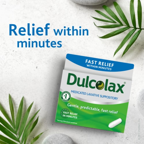 Dulcolax Fast Relief Laxitive Comfort Shaped Suppositories Perspective: back