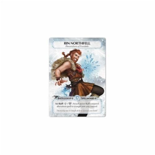 Ashes Frostdale Giants Board Game Expansion Deck Phoenixborn Rin Northfell Plaid Hat Games Perspective: back