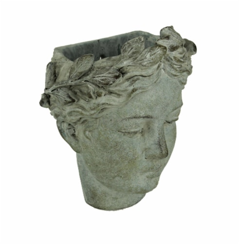 Distressed Cement Classic Grecian Lady Head Indoor/Outdoor Hanging Planters Set Perspective: back