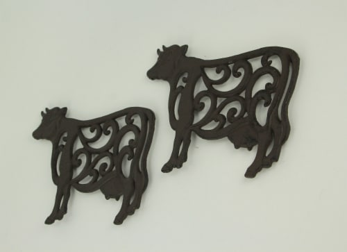 Brown Cast Iron Cow Floral Scroll Trivets Set of 2 Perspective: back