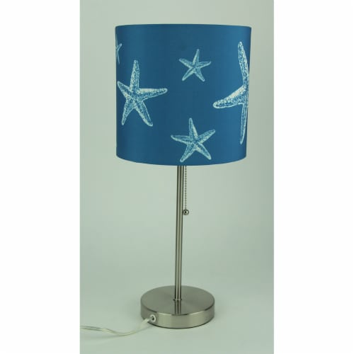 Brushed Nickel Finish Coastal Table Lamp With Blue Starfish Shade Set of 2 Perspective: back