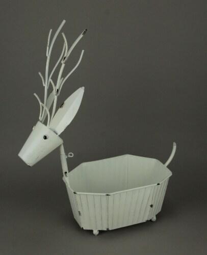 Rustic Metal Art Deer Indoor Outdoor Decorative Tub or Planter Sculpture Perspective: back