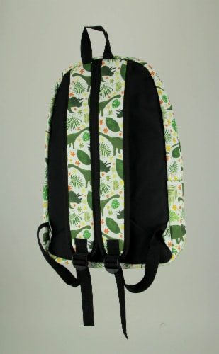 White and Green Dinosaur and Tropical Leaf Backpack Perspective: back