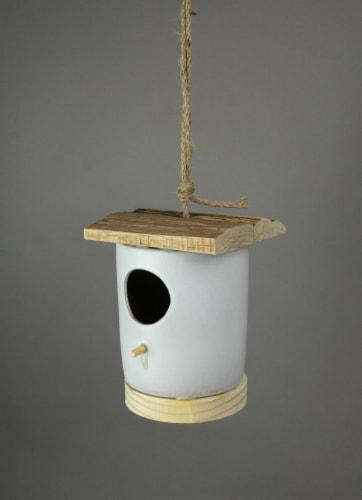 Ceramic & Wood Hanging Birdhouse Decorative Bird Home Nesting House Cylinder - Cylinder Perspective: back