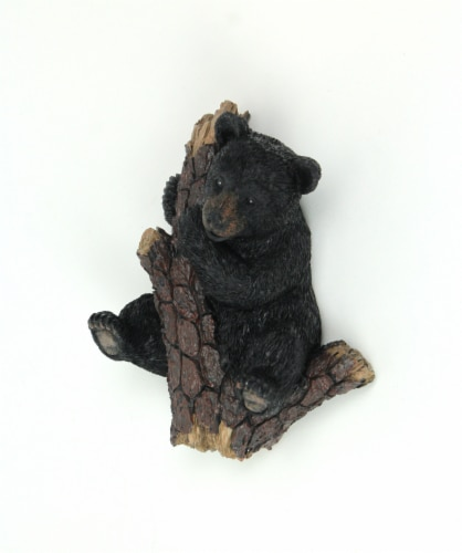 Hand Painted Black Bear in Pine Tree Decorative Wall Hooks Set of 3 Perspective: back
