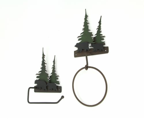 Metal Bear Forest Toilet Paper And Towel Holder Set Bathroom Wall Mounted Decor Perspective: back