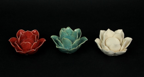 Set of 3 Ceramic Flower Tealight Candle Holders Decorative Votive Light Decor Perspective: back